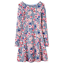 Buy Little Joule Girls' All-Over Floral Print Skater Dress, Soft Grey Online at johnlewis.com