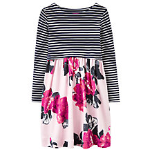 Buy Little Joule Girls' Stripe Floral Print Dress, Rose Online at johnlewis.com