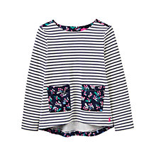 Buy Little Joule Girls' Print Mix Top, French Navy Online at johnlewis.com