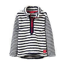 Buy Little Joule Girls' Dale Stripe Half Zip Fleece, French Navy/White Online at johnlewis.com