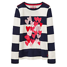 Buy Little Joule Girls' Applique Heart Top, French Navy Online at johnlewis.com