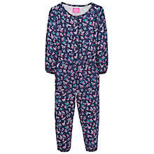 Buy Little Joule Girls' Floral Print Jumpsuit, Navy Online at johnlewis.com