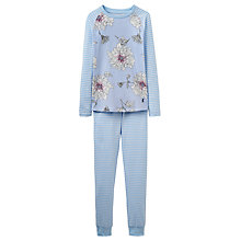 Buy Little Joule Children's Peony Print Pyjamas, Sky Blue Online at johnlewis.com