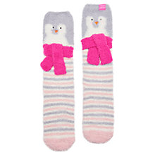 Buy Little Joule Children's Fluffy Penguin Socks, Sky Blue Online at johnlewis.com