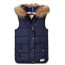 Buy Little Joule Girls' Hooded Gilet, Navy Online at johnlewis.com