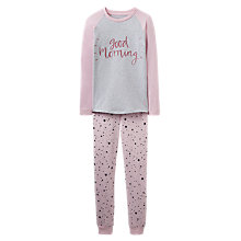 Buy Little Joule Children's Star Print Pyjamas, Rose Pink/Grey Online at johnlewis.com