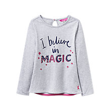 Buy Little Joule Girls' I Believe In Magic T-Shirt, Grey Online at johnlewis.com