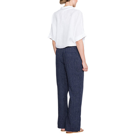 Buy East Linen Stripe Trousers, Ink Online at johnlewis.com