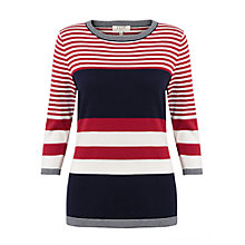 Buy East Combination Stripe Jumper, Navy/Multi Online at johnlewis.com