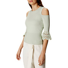 Buy Karen Millen Fluted Lace Cut-Out Shoulder Top, Pale Green Online at johnlewis.com