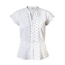Buy East Polka Dot Dobby Peplum Shirt, White Online at johnlewis.com