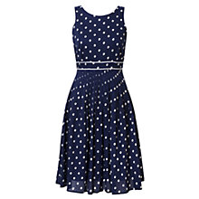 Buy East Spot Print Pleat Dress, Navy/White Online at johnlewis.com