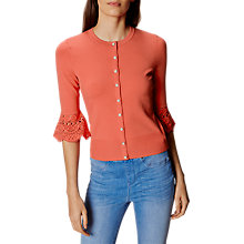 Buy Karen Millen Fluted Lace Cardigan, Coral Online at johnlewis.com