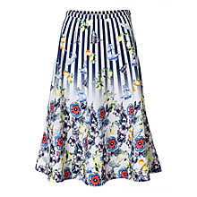 Buy East Fabiola Floral and Stripe Print Skirt, Ink/Multi Online at johnlewis.com