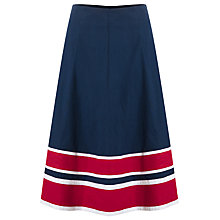 Buy East Striped Hem A Line Skirt, Navy/Bright Red Online at johnlewis.com