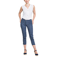 Buy East Linen Spot Print Capri Trousers, Navy Online at johnlewis.com