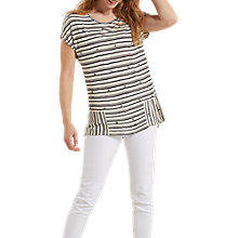 Buy White Stuff Pretty Stripe Embellished Jersey T-Shirt, Black Online at johnlewis.com