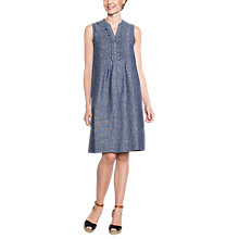 Buy East Linen Cross Dye Pintuck Dress, Indigo Online at johnlewis.com