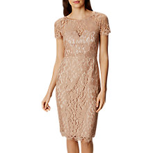 Buy Karen Millen Short Sleeved Lace Dress, Neutral Online at johnlewis.com