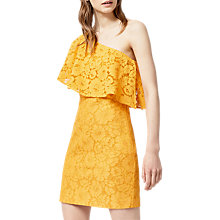 Buy Warehouse Bonded Lace One Shoulder Dress, Yellow Online at johnlewis.com