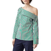 Buy Warehouse Boat Neck Stripe Top, Green/White Online at johnlewis.com