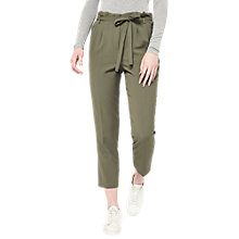Buy Miss Selfridge Paper Bag Trousers, Khaki Online at johnlewis.com