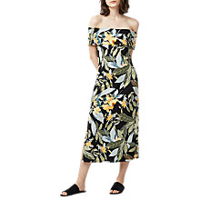 Buy Warehouse Tropical Print Bardot Mini Dress, Black/Multi Online at johnlewis.com