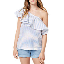 Buy Warehouse Stripe Ruffle Shoulder Top, Blue Online at johnlewis.com