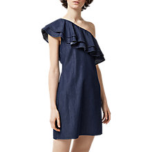 Buy Warehouse Denim One Shoulder Dress, Mid Wash Denim Online at johnlewis.com