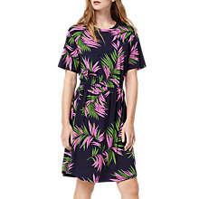 Buy Warehouse Graphic Palm Print Dress, Blue/Multi Online at johnlewis.com