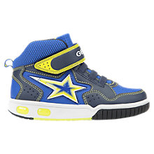 Buy Geox Children's Gregg Rip-Tape Trainers, Navy/Lime Online at johnlewis.com