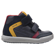 Buy Geox Children's Arzach Rip-Tape Trainers, Navy/Yellow Online at johnlewis.com