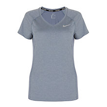 Buy Nike Dry Miler Short Sleeve V-Neck Running Top, Blue Online at johnlewis.com