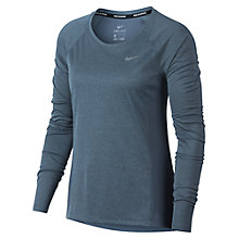 Buy Nike Dry Miler Long Sleeve Running Top, Dark Blue Online at johnlewis.com