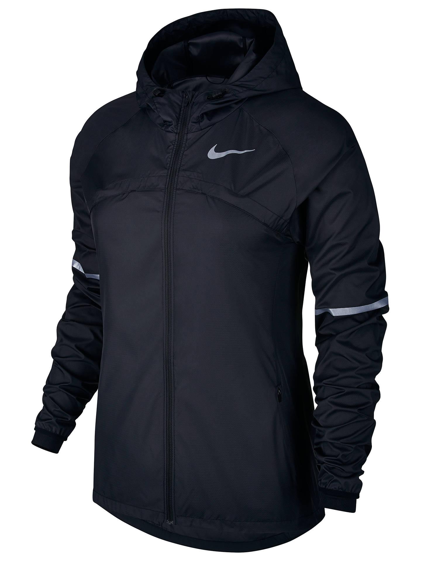 Minimizar Frustración un acreedor  Nike Shield Hooded Women's Running Jacket, Black at John Lewis & Partners
