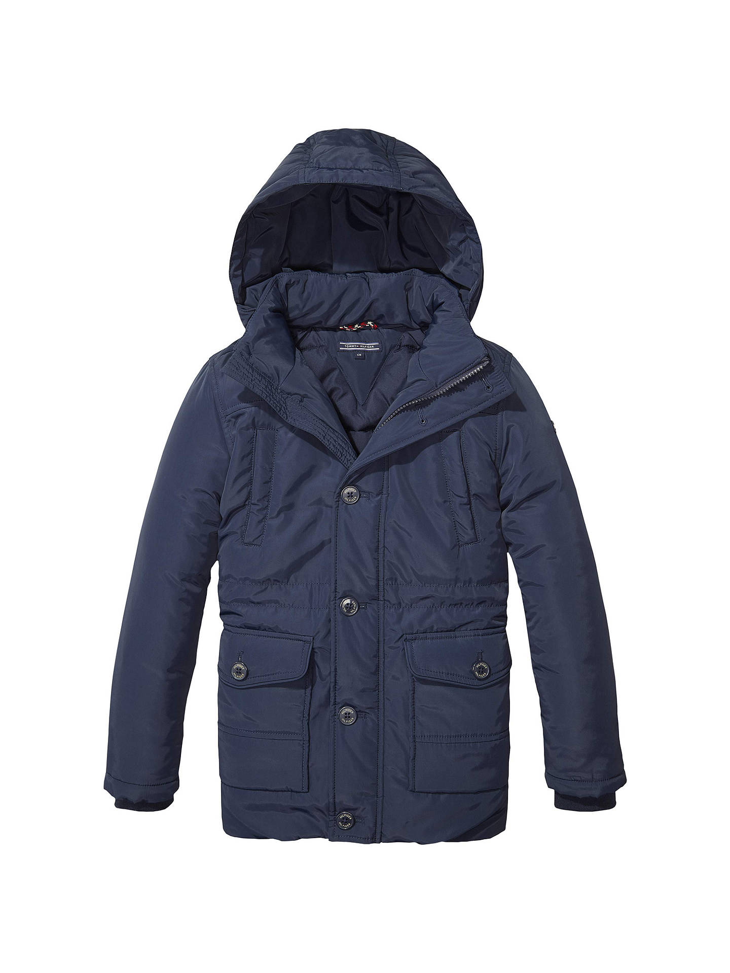 a84d1d20c1 Tommy Hilfiger Boys' Padded Parka Jacket, Navy at John Lewis & Partners