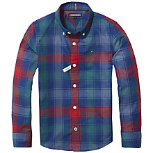Buy Tommy Hilfiger Boys' Multicolour Check Long Sleeve Shirt, Blue Online at johnlewis.com