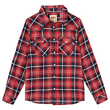 Buy Levi's Boys' Long Sleeve Check Shirt, Red Online at johnlewis.com