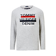 Buy Tommy Hilfiger Boys' Ame Logo Long Sleeve T-Shirt, Grey Online at johnlewis.com