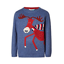 Buy John Lewis Children's Moose Scarf Knit Jumper, Blue Online at johnlewis.com