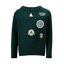 Buy John Lewis Boys' Badge Knitted Jumper, Green Online at johnlewis.com