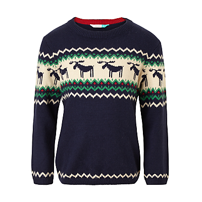 John Lewis Boys' Stripe Moose Knit Jumper, Navy