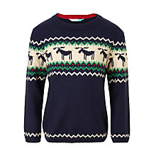 Buy John Lewis Boys' Stripe Moose Knit Jumper, Navy Online at johnlewis.com