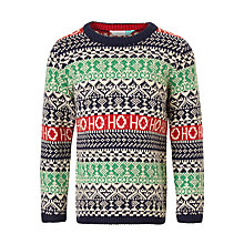 Buy John Lewis Boys' Ho-Ho-Ho Knit Jumper, Multi Online at johnlewis.com