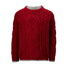Buy John Lewis Boys' Cable Knitted Jumper, Red Online at johnlewis.com