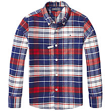 Buy Tommy Hilfiger Boys' Check Long Sleeve Shirt, Red/White/Blue Online at johnlewis.com