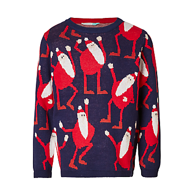 John Lewis Boys' Dancing Santa Knit Jumper, Blue