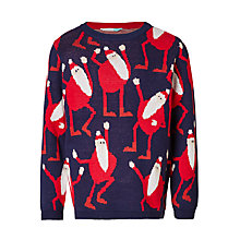 Buy John Lewis Boys' Dancing Santa Knit Jumper, Blue Online at johnlewis.com