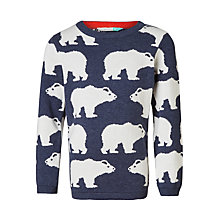 Buy John Lewis Boys' Polar Bear Knit Jumper, Blue Online at johnlewis.com