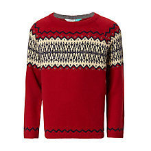 Buy John Lewis Boys' Yoke Fair Isle Knit Jumper, Red Online at johnlewis.com